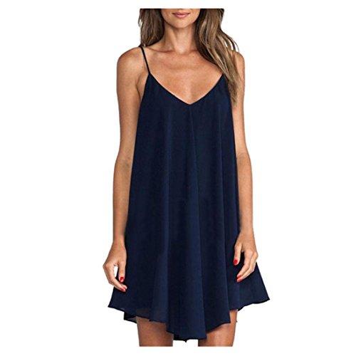 Femmes Vente Amiley Chaud Sans Manches Sexy Été Moulantes V Cou Solides Mini-pyjama Robe Courte Bleu Marine