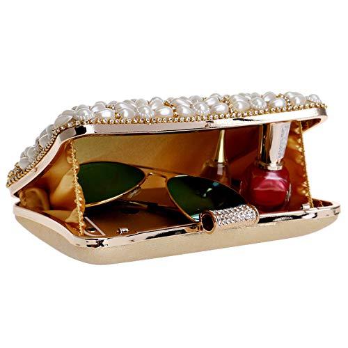 Pochette Sac à Main Diamant Clutch Femme Soirée Bourse Mariage D'embrayage Fleur Sac Red Robe Fête Perle Prom GODW qOaZw66