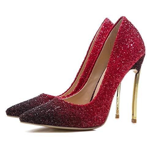 33 Cm 45 Estrenar Tamaño Upper A Bombas Red De Bling Hoesczs Gradient Gran Color Heels Women Thin Shoes High Banquet 12 8Xqnf