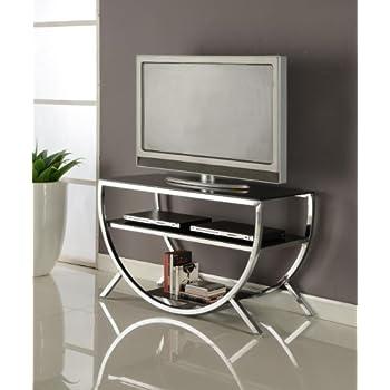 High Quality Kings Brand Furniture Metal With Glass Top U0026 Shelves TV Stand, Chrome