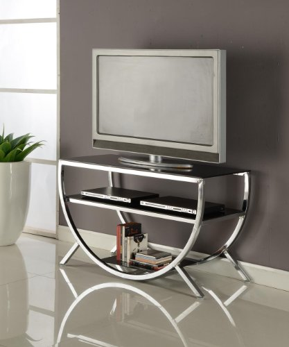 Kings Brand Furniture Dedham Chrome Metal with Glass Shelves TV Stand (Table Tv For Glass)