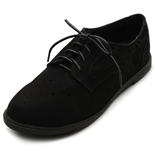 Ollio Womens Lace Up Wing Tip Casual Chaussure À Talons Bas Oxford Noir
