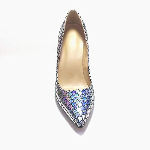 Del Tamaño Acentuado Mujer Pez Hoesczs Señora El Silver Dedo Zapatos De Nueva 47 Más 34 Marca Bombas Fiesta Delgados Piel Alto Tacón La Pie Impresión HHOqa0