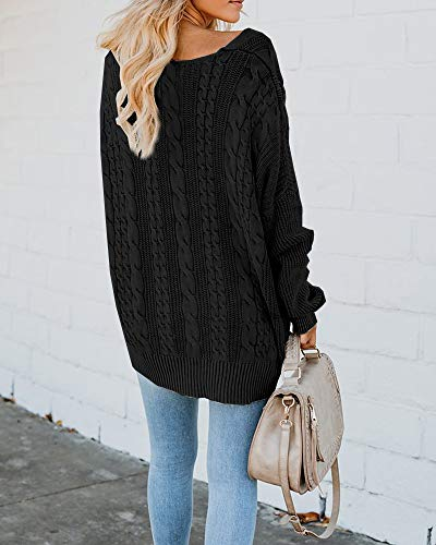 82578a6460e Womens Pullover Sweaters Plus Size Cable Knit V Neck Lace Up Long Sleeve  Fall Jumper Tops
