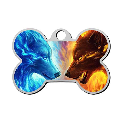 Qeksow Customizable Bone Shape ID Tags, Fantasy Ice Fire Wolf Art Personalized Double Sided Printed Pet Information Collar for Cat Dog (Cat Ice Collar)