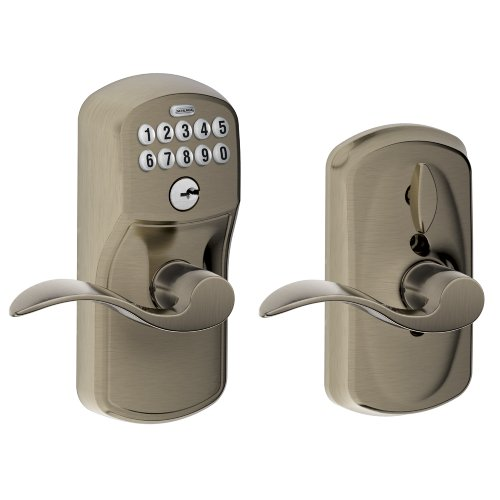 Schlage FE595 PLY 620 Acc Plymouth Keypad Entry with Flex-Lock and Accent Style Levers, Antique Pewter (Accents Antique Pewter Series)