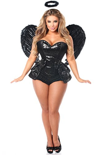 [Daisy Corsets Women's Top Drawer 4 Piece Midnight Angel Corset Costume, Black, Large] (Angel Halloween Costumes 2016)