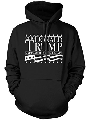 LOGOPOP Donald Trump Make America Great Again! Unisex Adult Hoodie, L, Black