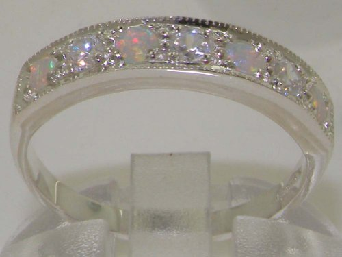 LetsBuyGold 14k White Gold Natural Diamond and Opal Womens Band Ring 0.18 cttw, H-I Color, I2-I3 Clarity