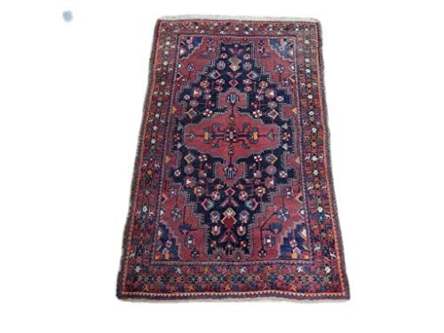 (Navy Blue Bedroom Rug 4' x 7' Vintage Hamedan Persian Hand-Knotted Rug )