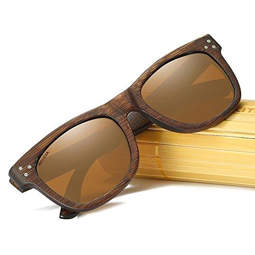 KITHDIA de Lentes espejos vintage sol de de de Gafas Marrón Gafas sol anteojos hombres los de madera Gafas de Polarizadas de de Gafas Madera Sol modelo moda Bambú de y Szr6qSw