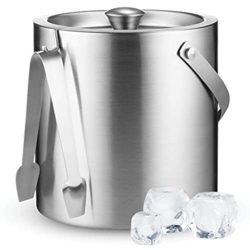 Double-Wall Stainless Steel Insulated Ice Bucket With Lid and Ice Tong [3 Liter] Included Strainer Keeps Ice Cold & Dry, comfortable Carry Handle, Great for Home Bar, Chilling Beer, Champagne and wine