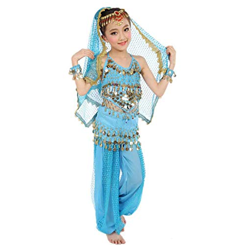 Maylong Girls Lantern Pants Belly Dance Outfit School Halloween Costume DW10 (x-Large, Sky -