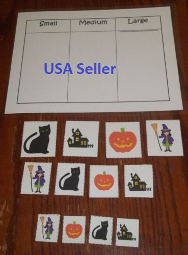 Nikkycozie Halloween Holiday Home-school Game Sorting laminated preschool child Size -