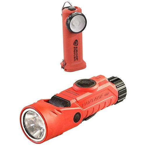 Streamlight Vantage 180 Helmet/Right-Angle Multi-Function Flashlight and Survivor LED Right Angle Rechargeable Flashlight, 6-3/4-Inch, Orange