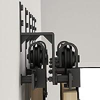 Soporte de pared plano de acero negro para puerta corredera, juego ...