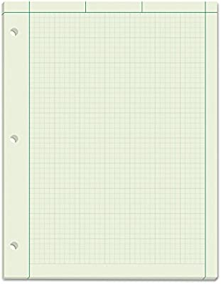 tops engineering computation pad quad rule letter size green tint 100 sheets per pad 35500