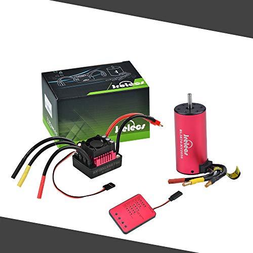 Jrelecs S3674 2650KV Sensorless Brushless Motor 120A Brushless ESC & Program Card Combo Set for 1/8 RC Car Truck Vehicle Parts