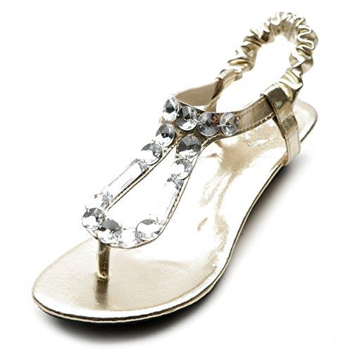 Ollio Women's Shoe Low Heel Beaded Thong Multi Color Sandal(7.5 B(M) US, Gold)