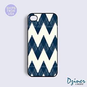 iPhone 4 4s Case -Blue Rusty Chevron iPhone Cover