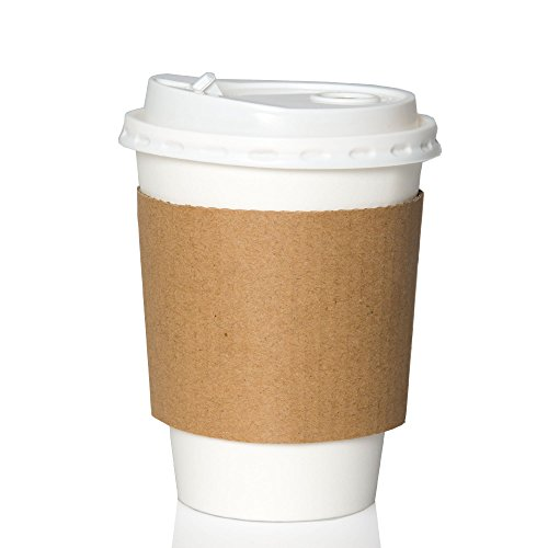 50 Pack - 12 oz To Go Coffee Cups with Sleeves & Lids - Disposable & Recyclable White Paper Travel Coffee Cups