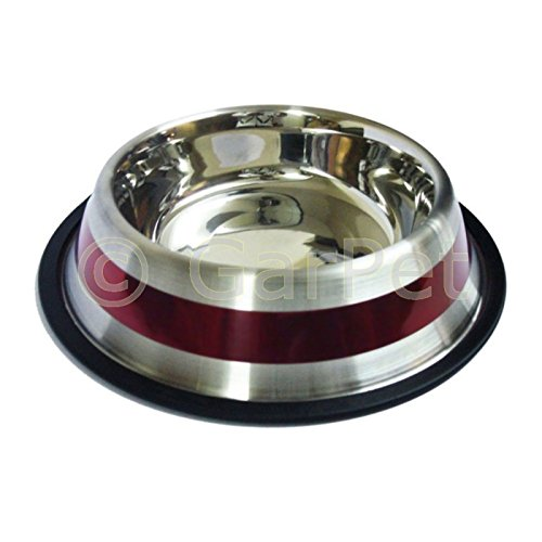 Edelstahl Futternapf Wassernapf mit Gummiring Hunde Katze Napf Freßnapf (rot gestreift, 0.5 l)