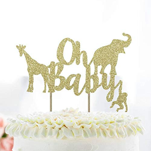 Oh Baby Baby Shower Cake Topper Gold Glitter Jungle Wild Safari Animal Baby Shower Cake Topper Party Supplies Decorations]()
