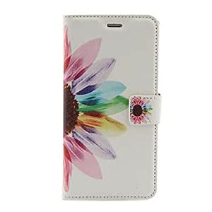 QJM Sunflower Pattern PU Leather Case with Stand and Card Slot for iPhone 6 Plus