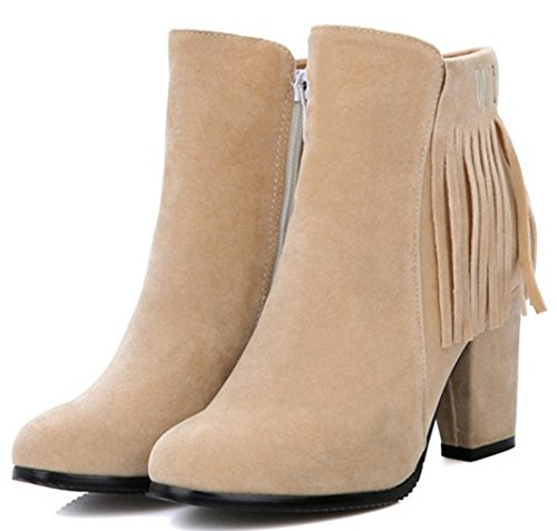 IDIFU Womens Elegant Fringes High Chunky Heel Side Zip Up Short Ankle Booties Beige Hr7gyN