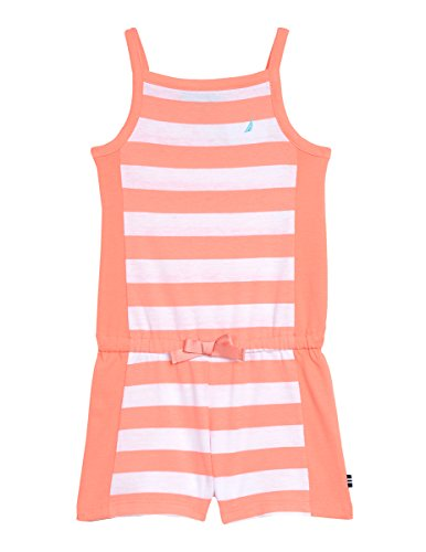 Nautica Baby Girls' Colorblock Stripe Romper, Light Melon, 12M