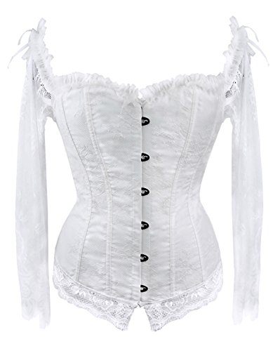 Bslingerie Womens Waist Cincher Bustier Boned Corset (L, White Long Sleeve)