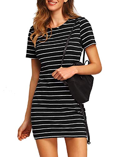Floerns Women's Causal T-Shirt Dress Short Sleeve Striped Mini Dress Black and White S (Black And White Dress With Black Tights)