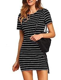 Women's Causal Short Sleeve Striped Bodycon T-Shirt Dress