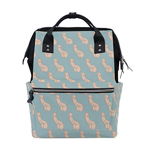 Repeating Penis Blue Diaper Bag Multi-Function Travel Backpack Nappy Tote Bags for Mom & Dad Large Capacity