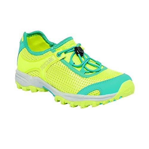 Regatta Girls Platipus Junior Breathable Walking Shoes Yellow RKF348 - LimeFizz/Aqu