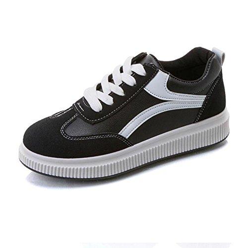 Zapatos de mujer Pu Spring Fall Comfort Sneakers Flat Heel para Casual Al aire libre Negro Blanco Rojo GAOLIXIA Black