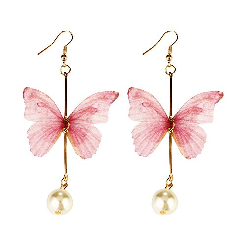 Nongkhai shop Fashion Women Silk Drop Dangle Butterfly Tassel Pearl Ear Hook Earrings Jewelry Color (Tiffany Butterfly Earrings)
