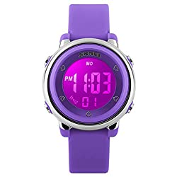 Gosasa Kids LED Digital Electrical Luminescent Silicone Outdoor Sport Waterproof Alarm Children Dress Wrist Watch with Stopwatch for Boys Girls (A- Purple)