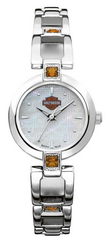 Harley-Davidson® Bulova® Women's Watch. Mother-of-Pearl Dial. Citrine gemstones. Luminous. WR50m/165ft. 76L148