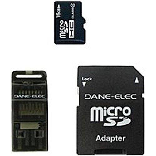 Dane Elec Camera Memory Cards (Dane 16GB MicroSD Memory Card With Adapter - Black (DA-3IN1C416GT3-C) Dane-Elec)