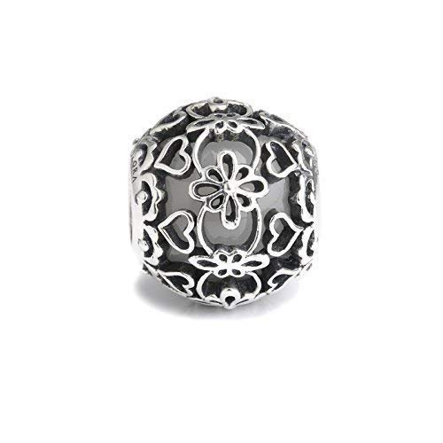 White Murano Glass & Sterling Silver Lace Charm S925, Vintage Ivory wedding Lace Silver Charm Bead pendant, Lace Bridal Wedding Boho Jewelry, Pandora compatible Charm Jewellery
