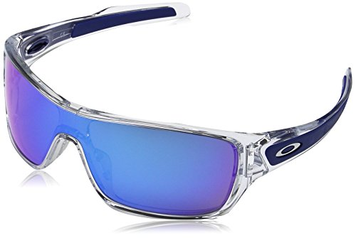 Oakley Men's OO9307 Turbine Rotor Rectangular Sunglasses, Polished Clear/Sapphire Iridium, 32 ()
