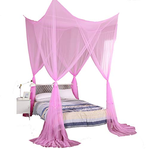 Mengersi 4 Corner Post Bed Canopy Curtain Mosquito Net Twin Full Queen King Size (Pink)