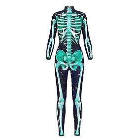 - 41VcwFObU9L - Honeystore Women's Halloween Skeleton Catsuit Costume 3D Stretch Skinny Bodysuit
