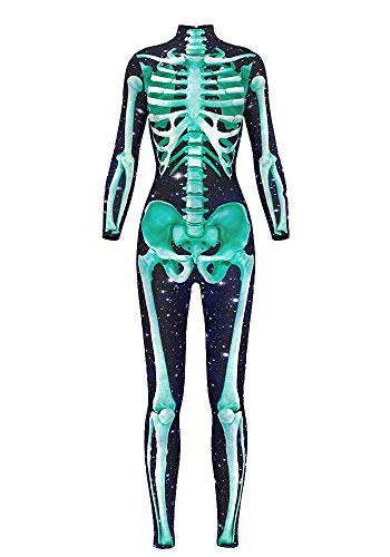- 41VcwFObU9L - Honeystore Women's Halloween Skeleton Catsuit Costume 3D Stretch Skinny Bodysuit