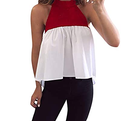 ANJUNIE 2019 Summer Women Halter Patchwork Vest Loose Sleeveless Tops Casual Loose Mini Blouse