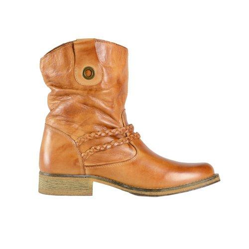 16e18c5037f583 ONLINE SHOES Cognac - Braune Damen Leder Stiefel