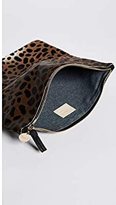 Clare V. Women's Supreme Haircalf Fold Over Clutch, Leopard, One Size