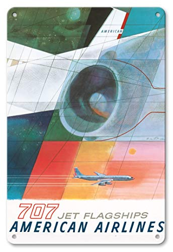 LHZJ Fashionable Boeing 707 Jet Flagships - American Airlines by Herbert DanskaWall Sign 8X12 inches Metal tin Sign
