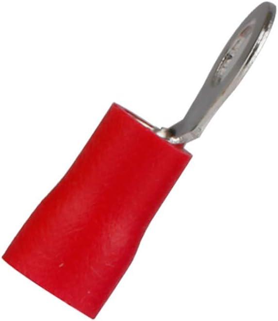 Mintice 100 Rouge 1//4 Anneau en cuivre connecteur Terminal isol/é 16-22 GA Fil /à sertir kit de c/âble /à sertir /électrique Outil Rapide